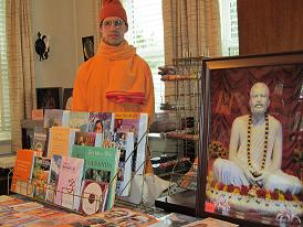 Swami in bookshop of Vedanta Society of St. Louis