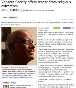 """""""Vedanta Society offers respite from religious extremism"""" article in St. Louis Post-Dispatch"""