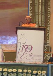Swami Tattwamayananda at Belur Math SV's 150 Anniversary 2014