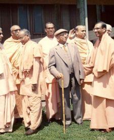 Swamis at opening of Olema Women's Retreat, 1972: Sarvagatananda, Bhashyananda, Shraddhananda, Chetanananda, Vividishananda, Prabuddhananda, Asaktananda, Asheshananda, and others.