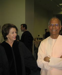 Nancy Pelosi, the speaker of the House of Representatives with Swami Chetanananda, May 12, 2007 during the convocation of Webster University